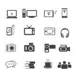 Sistema del icono de los datos, entretenimiento grande e iconos de los dispositivos electrónicos fijados Imágenes de archivo libres de regalías