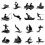 Sistema del icono de los deportes acuáticos Imágenes de archivo libres de regalías