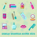 Sistema del icono de los deseos de las muchachas Iconos planos del cosmético de las compras del estilo Imagenes de archivo