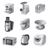 Sistema del icono de los dispositivos de cocina Fotografía de archivo