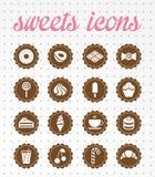 Sistema del icono de los dulces icons.vector. Imagen de archivo