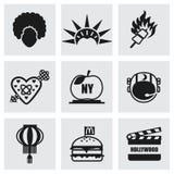 Sistema del icono de los E.E.U.U. del vector stock de ilustración