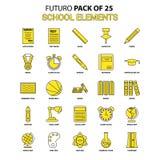 Sistema del icono de los elementos de la escuela Último paquete amarillo del icono del diseño de Futuro libre illustration
