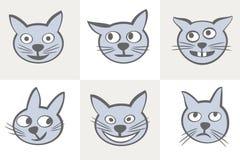 Sistema del icono de los gatos de las sonrisas Imágenes de archivo libres de regalías