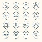 Sistema del icono de los indicadores del mapa Foto de archivo