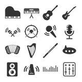 Sistema del icono de los instrumentos de música Foto de archivo libre de regalías