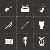 Sistema del icono de los instrumentos de música del vector Fotografía de archivo libre de regalías
