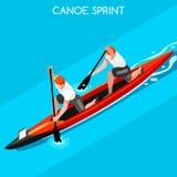 Sistema del icono de los juegos del verano del doble de Sprint de la canoa 3D isométrico Imagen de archivo libre de regalías