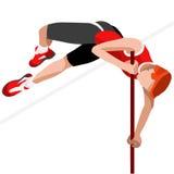 Sistema del icono de los juegos del verano del salto con pértiga del atletismo atleta isométrico 3D Olimpiadas que se divierten l Fotos de archivo libres de regalías