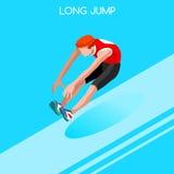 Sistema del icono de los juegos del verano del salto de longitud del atletismo atleta isométrico 3D Competencia internacional del Imagen de archivo