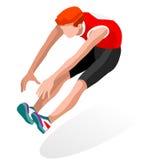 Sistema del icono de los juegos del verano del salto de longitud del atletismo atleta isométrico 3D Competencia internacional del Imagenes de archivo