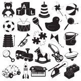 Sistema del icono de los juguetes de los niños Fotografía de archivo libre de regalías