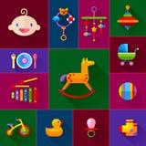 Sistema del icono de los juguetes del bebé Fotos de archivo libres de regalías