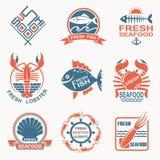Sistema del icono de los mariscos Fotos de archivo libres de regalías