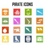 Sistema del icono de los piratas Stock de ilustración