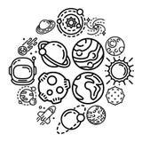 Sistema del icono de los planetas, estilo del esquema stock de ilustración