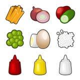 Sistema del icono de los productos alimenticios Foto de archivo libre de regalías