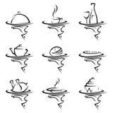 Sistema del icono de los restaurantes Fotos de archivo libres de regalías