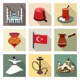 Sistema del icono de los símbolos del viaje de Turquía Foto de archivo libre de regalías