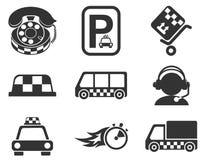 Sistema del icono de los servicios del taxi Fotografía de archivo libre de regalías