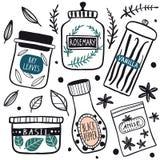 Sistema del icono de los tarros de las hierbas y de las especias libre illustration