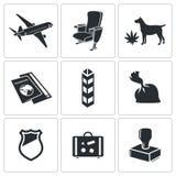 Sistema del icono de los tráficos de droga ilustración del vector