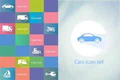 Sistema del icono de los transportes Iconos del coche fijados Fotos de archivo