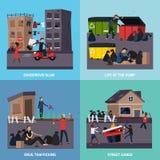 Sistema del icono de los tugurios del ghetto Fotos de archivo libres de regalías
