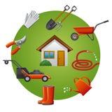Sistema del icono de los utensilios de jardinería Imagen de archivo