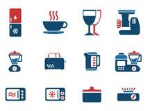 Sistema del icono de los utensilios de la cocina Foto de archivo libre de regalías