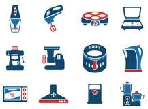 Sistema del icono de los utensilios de la cocina Fotos de archivo libres de regalías