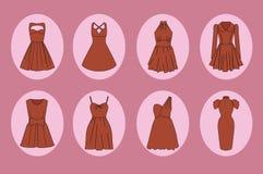 Sistema del icono de los vestidos de las mujeres Fotografía de archivo