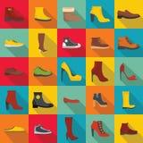 Sistema del icono de los zapatos del calzado, estilo plano stock de ilustración