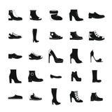 Sistema del icono de los zapatos del calzado, estilo simple ilustración del vector