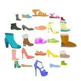 Sistema del icono de los zapatos, estilo plano ilustración del vector