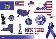 Sistema del icono de Nueva York Fotografía de archivo libre de regalías