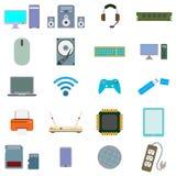 Sistema del icono de ordenador y de hardware ilustración del vector