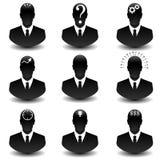 Sistema del icono de pensamiento del web del hombre de negocios Fotografía de archivo libre de regalías