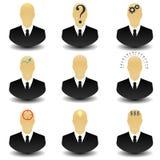 Sistema del icono de pensamiento del web del hombre de negocios Imagen de archivo