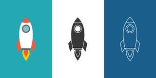 Sistema del icono de Rocket ilustración del vector