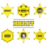 Sistema del icono de Stars del sheriff aislado en el fondo blanco Imagen de archivo
