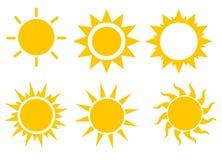 Sistema del icono de Sun, ejemplo del vector Foto de archivo