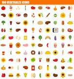 sistema del icono de 100 verduras, estilo plano Stock de ilustración