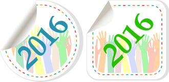 sistema 2016 del icono del Año Nuevo Años Nuevos de original del símbolo Fotos de archivo
