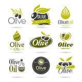 Sistema del icono del aceite de oliva foto de archivo libre de regalías