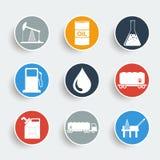Sistema del icono del aceite y del petróleo Foto de archivo libre de regalías