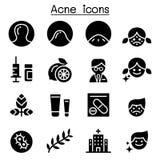 Sistema del icono del acné Imágenes de archivo libres de regalías