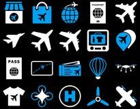 Sistema del icono del aeropuerto Foto de archivo