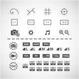 Sistema del icono del ajuste de la cámara, vector eps10 Fotos de archivo libres de regalías