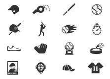 Sistema del icono del béisbol Imagenes de archivo